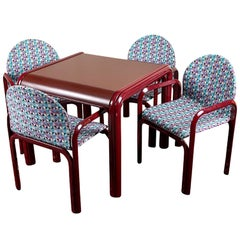 Knoll International Card Table and Four Armchairs
