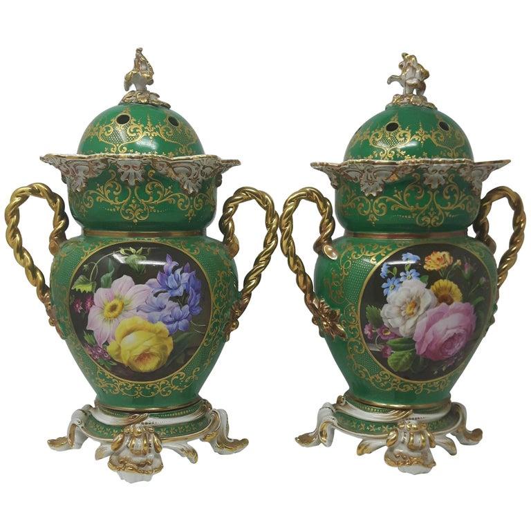 Pair of 19th Century Minton Vases