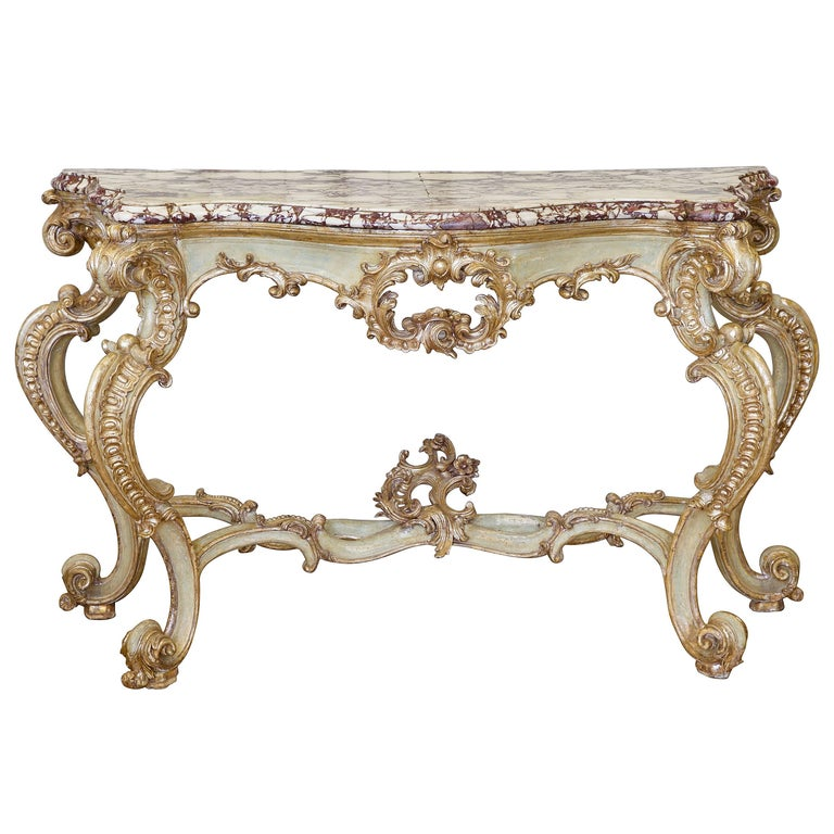 18th Century Louis XV Silver Gilded and Painted Console