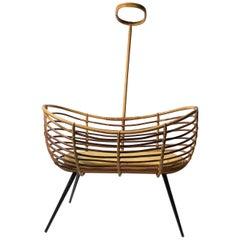 Rattan Bassinet Crib Cradle by Dirk van Sliedrecht, Rohé Noordwolde, 1950s