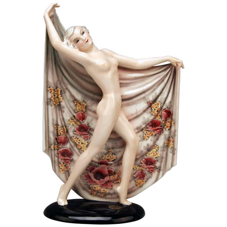 Goldscheider Vienna Nude Lady Dancer with Cloth Painted Flowers Nr. 8377