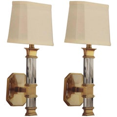 2 Pairs Italian Mid-Century Modern Style Solid Crystal and Antique Brass Sconces