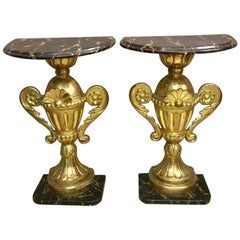 Pair of Half Round Tables Gold Leaf, 1900s