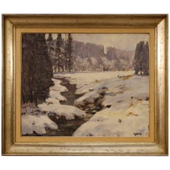 Belgian Signed Painting Oil on Canvas Snowy Landscape from 20th Century