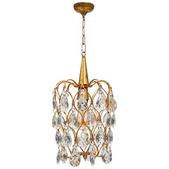 Gilt Birdcage Pendant Light with Pear Shaped Crystal Teardrops, Italy