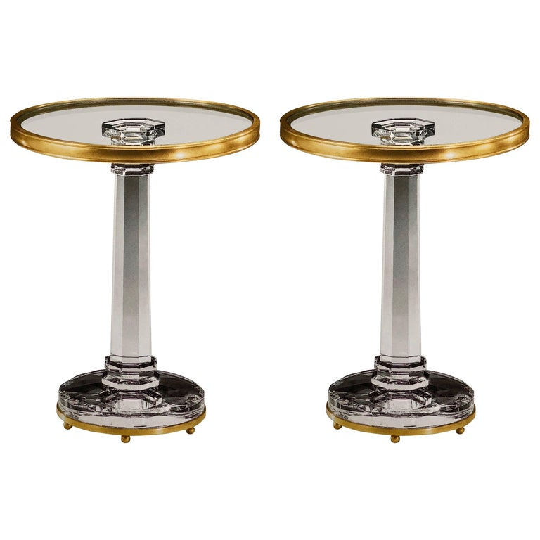 Two Italian Mid-Century Modern Style Solid Crystal and Antique Brass Side Tables