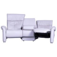 Himolla Designer Sofa Leather Grey Two-Seat Trapez Couch Germany