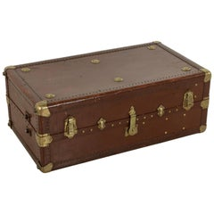 French Leather Steam Trunk or Coffee Table with Brass Detailing, circa 1900