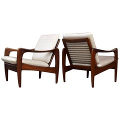 Pair of Teak Lounge Chairs by De Ster Gelderland, 1960s, New Upholstery