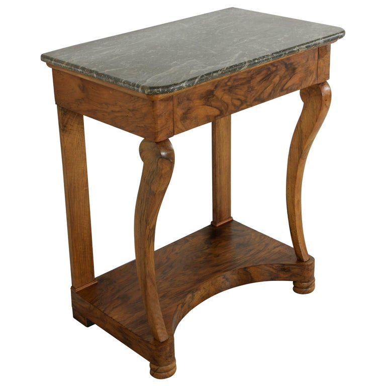 Early 19th Century French Restauration Period Walnut Console Table with Marble