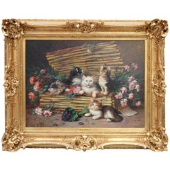 19th Century Painting, Cats in a Basket, Oil on Canvas, French School