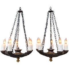 19th Century Pair of Directoire Bronze Chandeliers