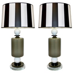 1980s Italian Geometric Pair of White Black and Silver Gray Murano Glass Lamps