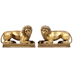 Pair of Regency Giltwood Lions