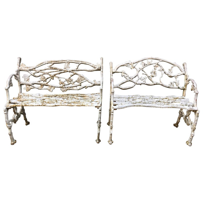 Late 19th Century American Cast Iron Garden Benches For Sale