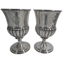Pair of Antique Scottish Georgian Sterling Silver Goblets