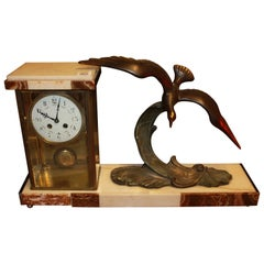 Art Deco Bronze and Marble Figural Mantle Clock