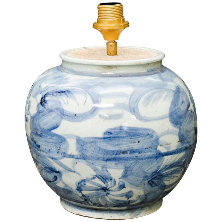 Celadon and Blue Glazed Stoneware Table Lamp