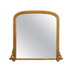 Antique Overmantel Mirror, Mid-Sized, English, Victorian, Wall, circa 1850