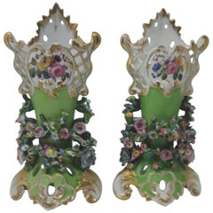 Pair of 19th Century Flower Encrusted Vases
