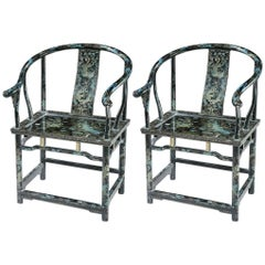 Pair of Chinese Horseshoe Chairs