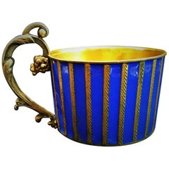 Austrian Jugenstil Gilded Silver and Enamel Tea Glass Holder, circa 1900