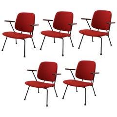 Five W.H. Gispen for Kembo 1950s Armchair, New Upholstery