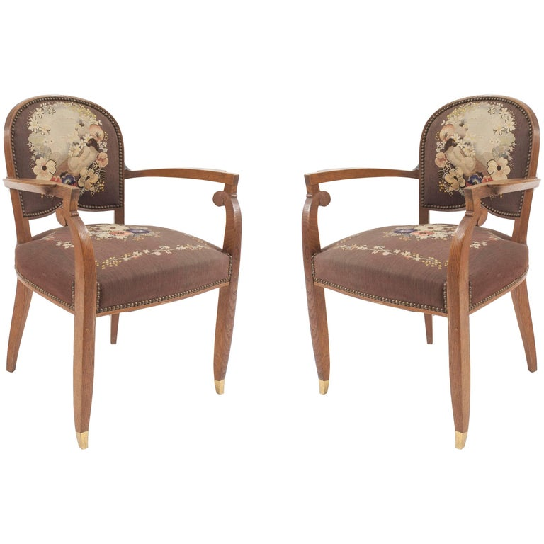 Pair of French Art Deco Armchairs with Tapestry Upholstery
