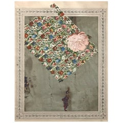 Varujan Boghosian Framed Abstract Paper Collage, Manuscript, 1992