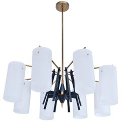 Eight-Arm Cylindrical Chandelier