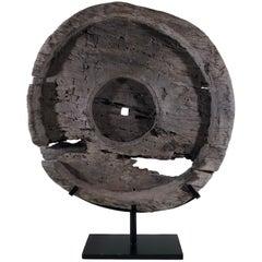 Impressive Teak Antique Ox Cart Wheel from Asia 19th Century