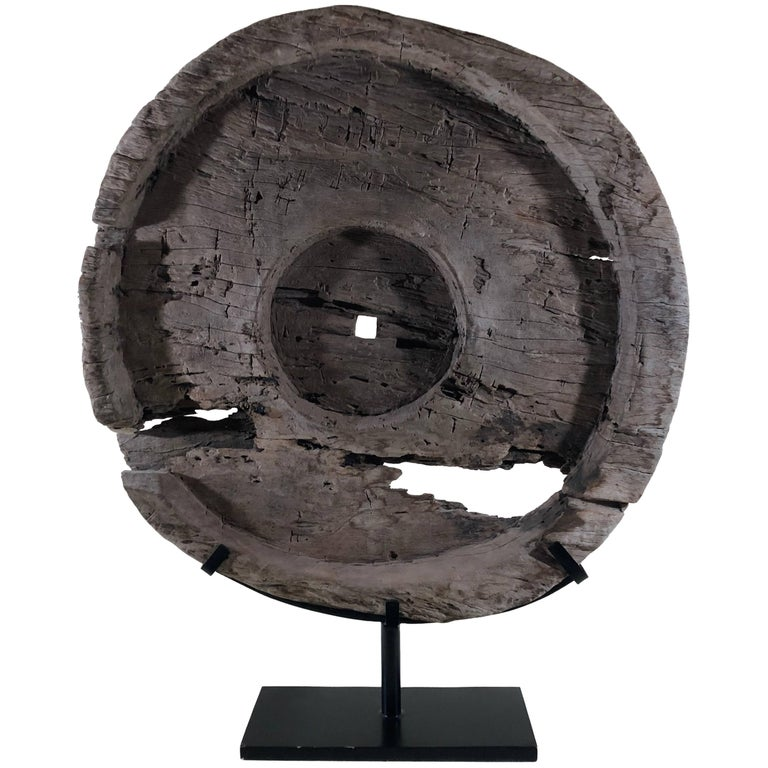 Impressive Teak Antique Ox Cart Wheel from Asia 19th Century