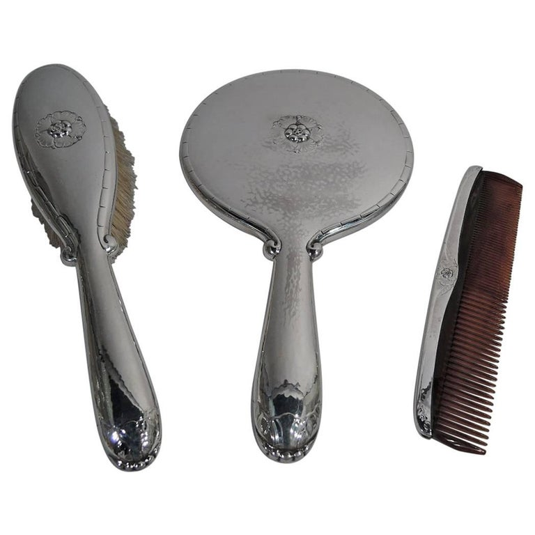 Georg Jensen Hand-Hammered Sterling Silver Three-Piece Vanity Set