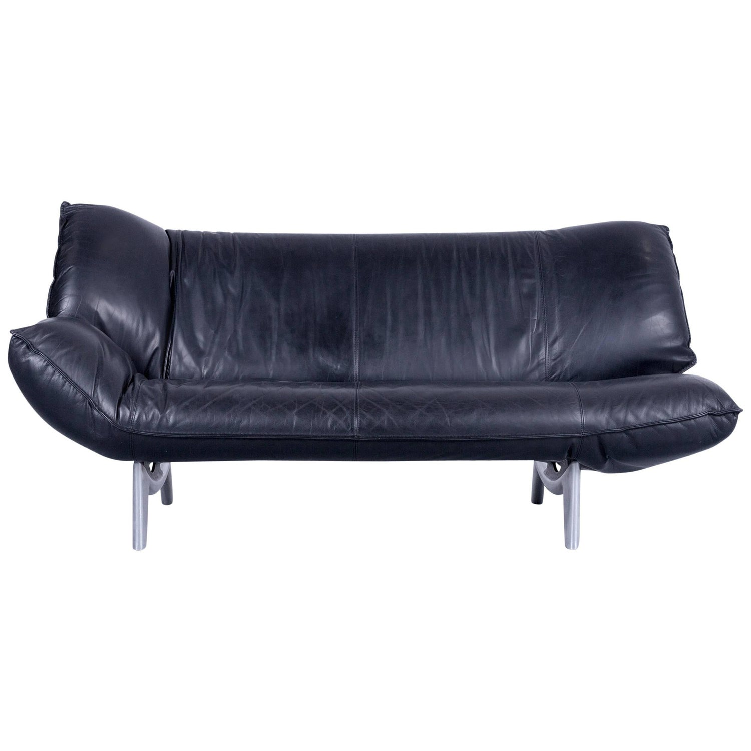 Leolux Tango Designer Leather Sofa Set Black Two Seat Couch