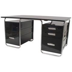 German Art Deco Black Enameled Wood Desk