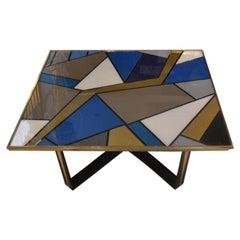 Italian Multicolored Opalines Glass Coffee Table Brass Fittings, 1980s
