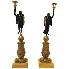 Pair of 19th Century French Gilt and Patinated Bronze Candlesticks