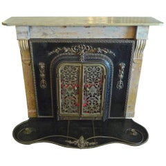 American 1960s Metal and Bronze Faux Fireplace with Carved Painted Pine Mantel