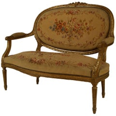 French Louis XVI Style Aubusson Upholstered Loveseat