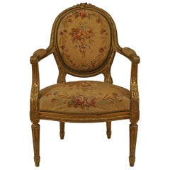 French Louis XVI Style Aubusson Upholstered Armchairs