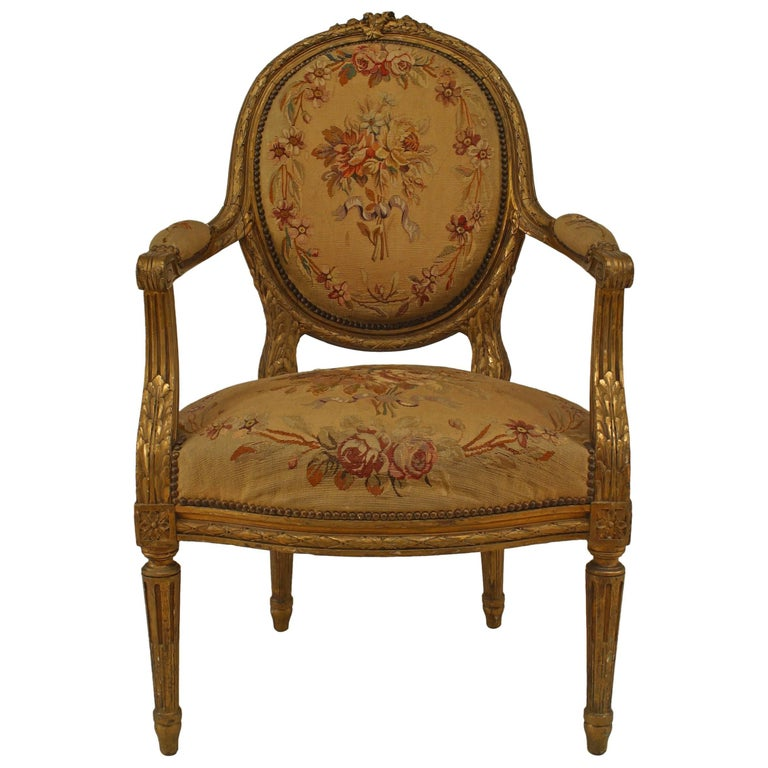 French Louis XVI Style, Gilt Oval Back Aubusson Upholstered Armchair