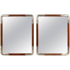 Pair of Silver Leafed and Natural Wood Japanese Mirrors