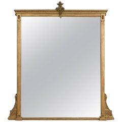 Antique Overmantel Mirror, English Victorian, Classical Revival Wall, circa 1880