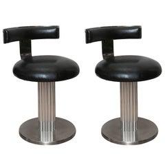 Pair of Art Deco Style Swivel Stools