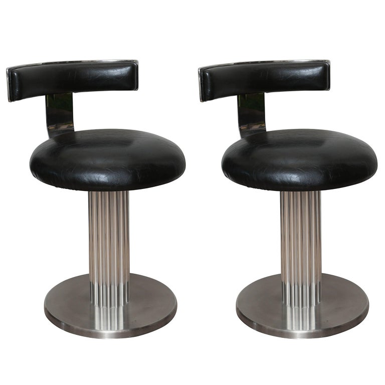 Pair of Art Deco Style Swivel Stools