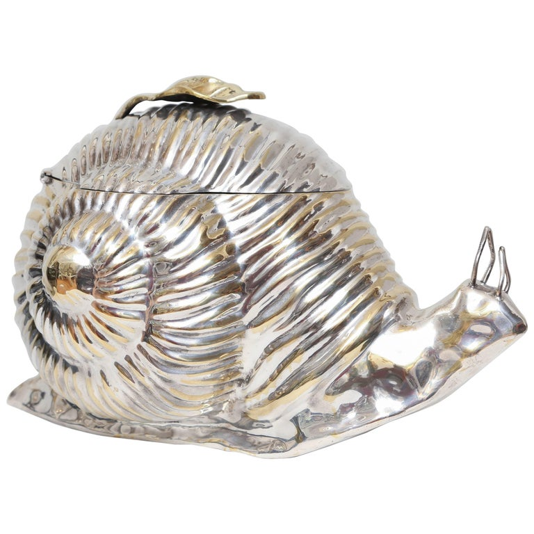 Silver Plated Snail Ice Bucket For Sale