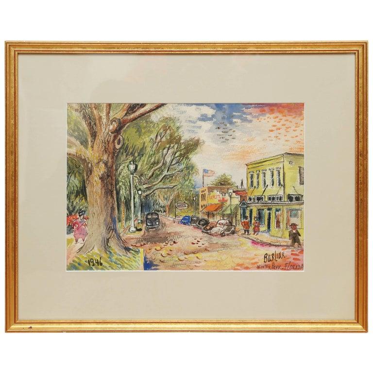 Original Watercolor of Winter Park, Florida by David Burliuk For Sale