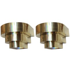 Pair of Polished Brass Art Deco Style Wall Brackets