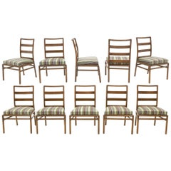 Ten Robsjohn-Gibbings for Widdicomb Armless Dining Chairs, New Paul Smith Fabric