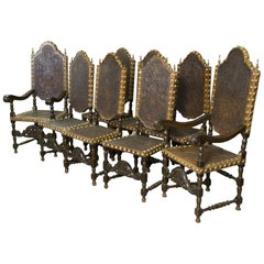 Seats in Walnut and Embossed Leather, 19th Century